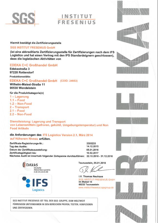 Zertifikat Fresenius